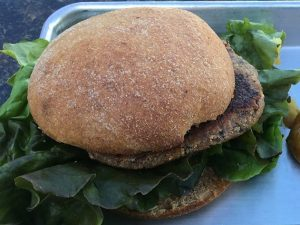 Zinmans Food Shop offers a 100% vegan burger - patty and bun.